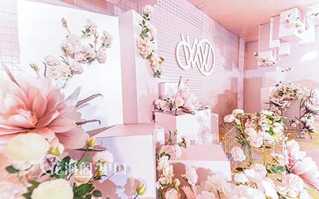 粉红色的浪漫里,沿着蜿蜒的花径缓缓走进婚姻殿堂